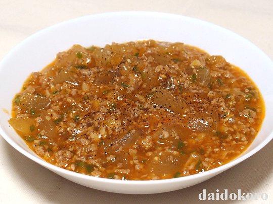 冬瓜とひき肉のピリ辛煮