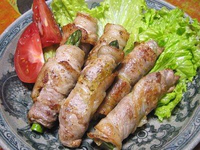 野菜三種の豚肉巻き