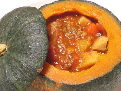 かぼちゃに入ったビーフシチュー