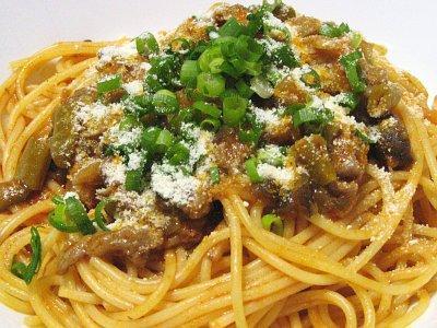 牛すじ肉と茄子とトマトのスパゲティ