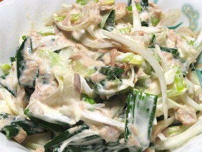葉玉ねぎとツナ缶のサラダ
